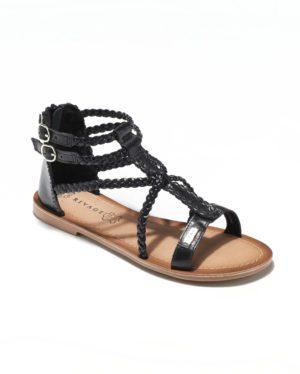Sandales Plates Femme - Sandale Plate Noir Jina - E-019040
