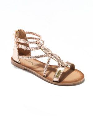 Sandales Plates Femme - Sandale Plate Or Jina - E-019040