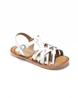 Sandales Fille - Sandale Ouverte Blanc Or Jina - E-20825 Jf