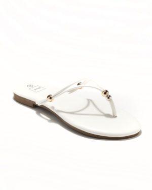 Mules Femme - Mule Plate Blanc Jina - Style 3 Zh P05