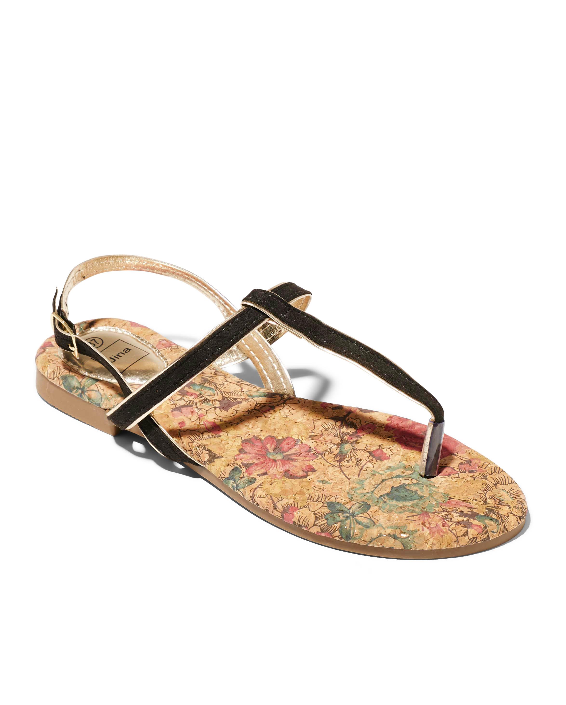 Sandales Plates Femme - Sandale Plate Noir Jina - Style 2 Zh P05