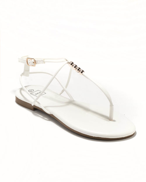 Sandales Plates Femme - Sandale Plate Blanc Jina - Style 4 Zh P05
