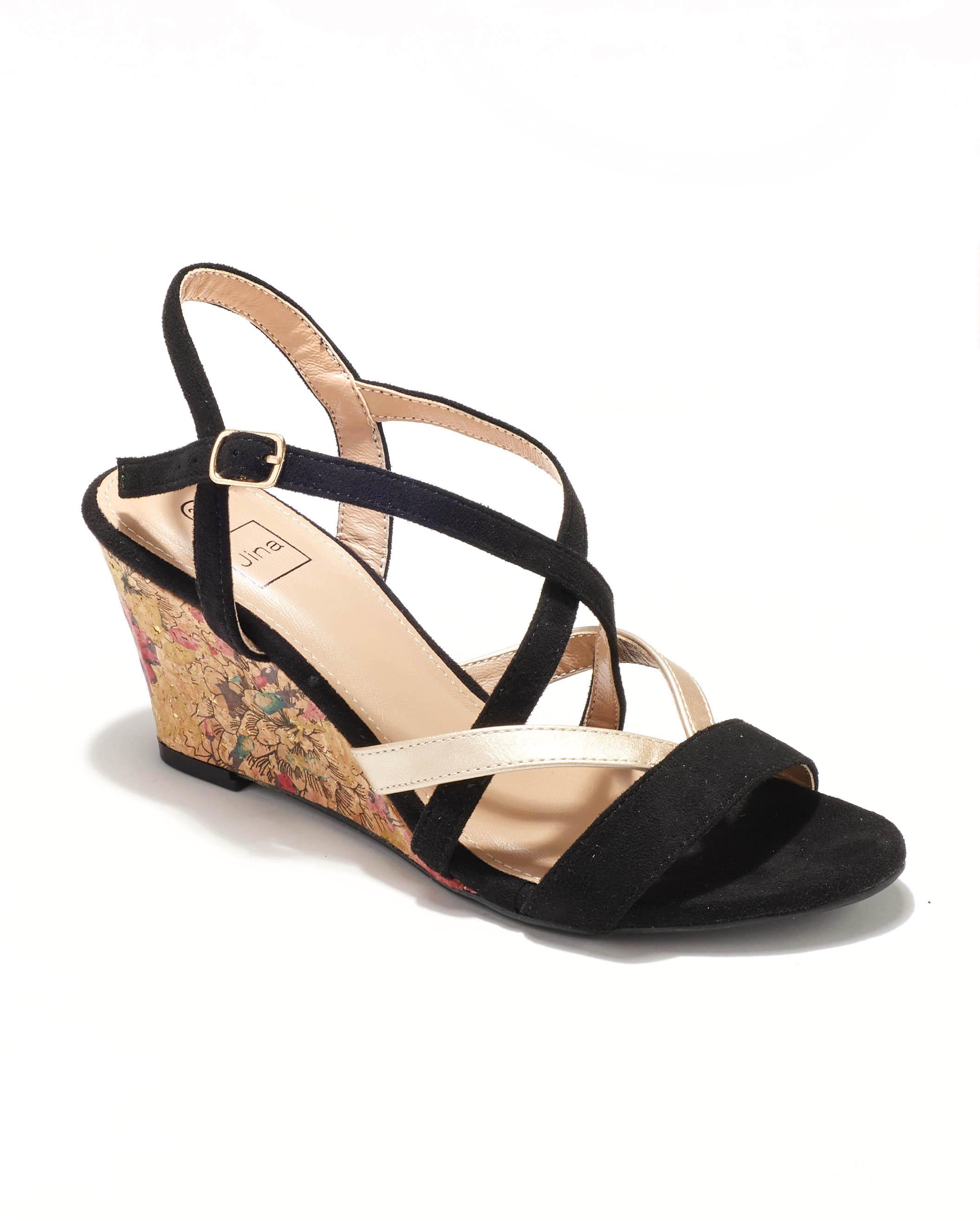 Sandales Compensées Femme - Sandale Talon Compensee Noir Jina - Sc15s-10