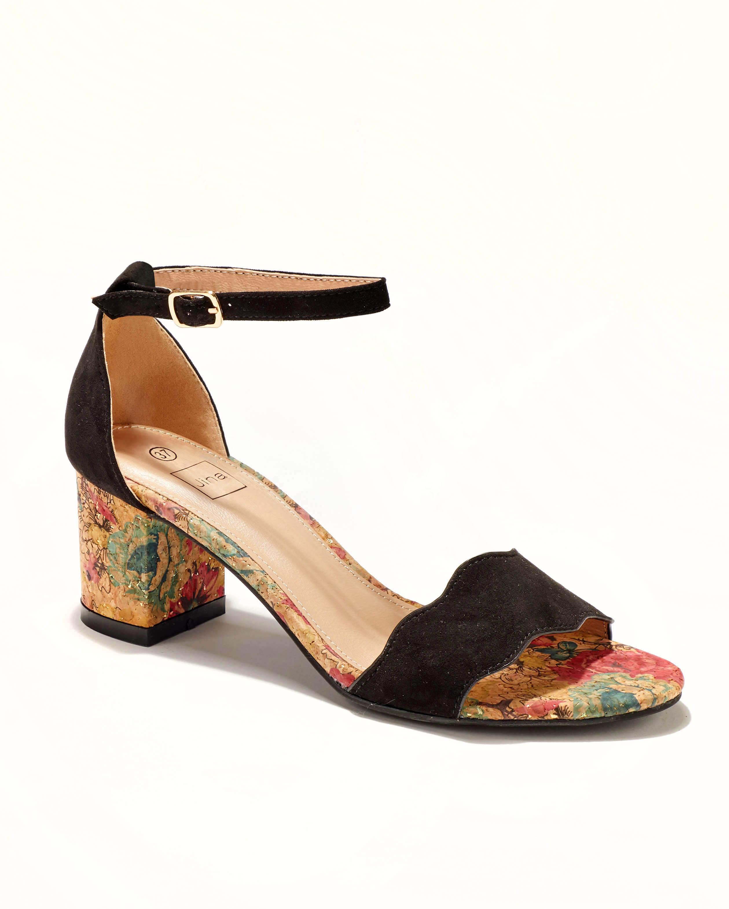 Sandales À Talons Femme - Sandale Talon Decrochee Noir Jina - Gf8793-3