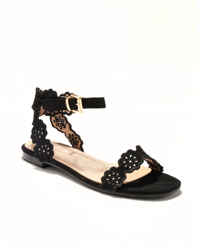 Sandales Plates Femme - Sandale Plate Noir Jina - Mgs5a-J21d