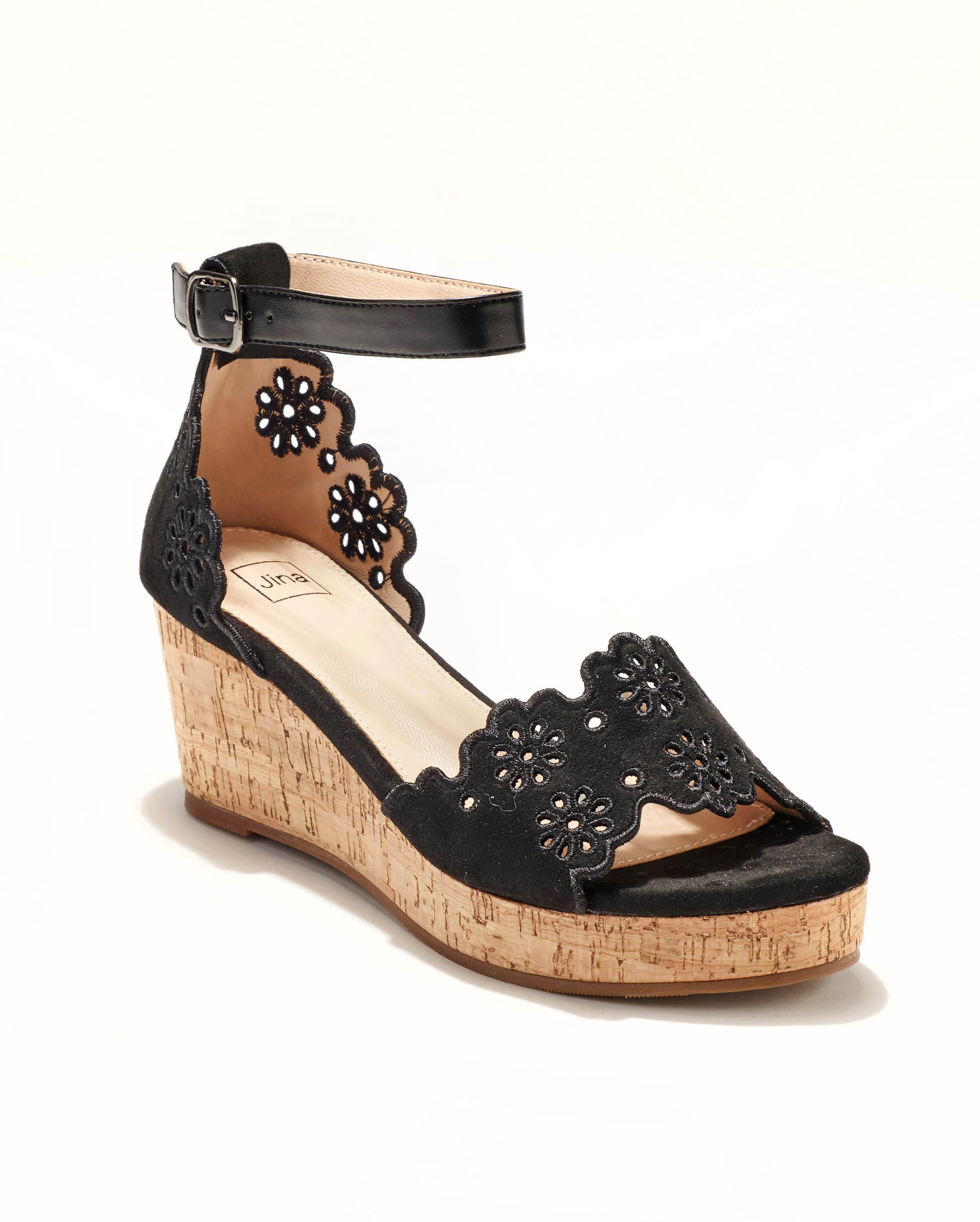 Sandales Compensées Femme - Sandale Talon Compensee Noir Jina - Mgf13-J21b