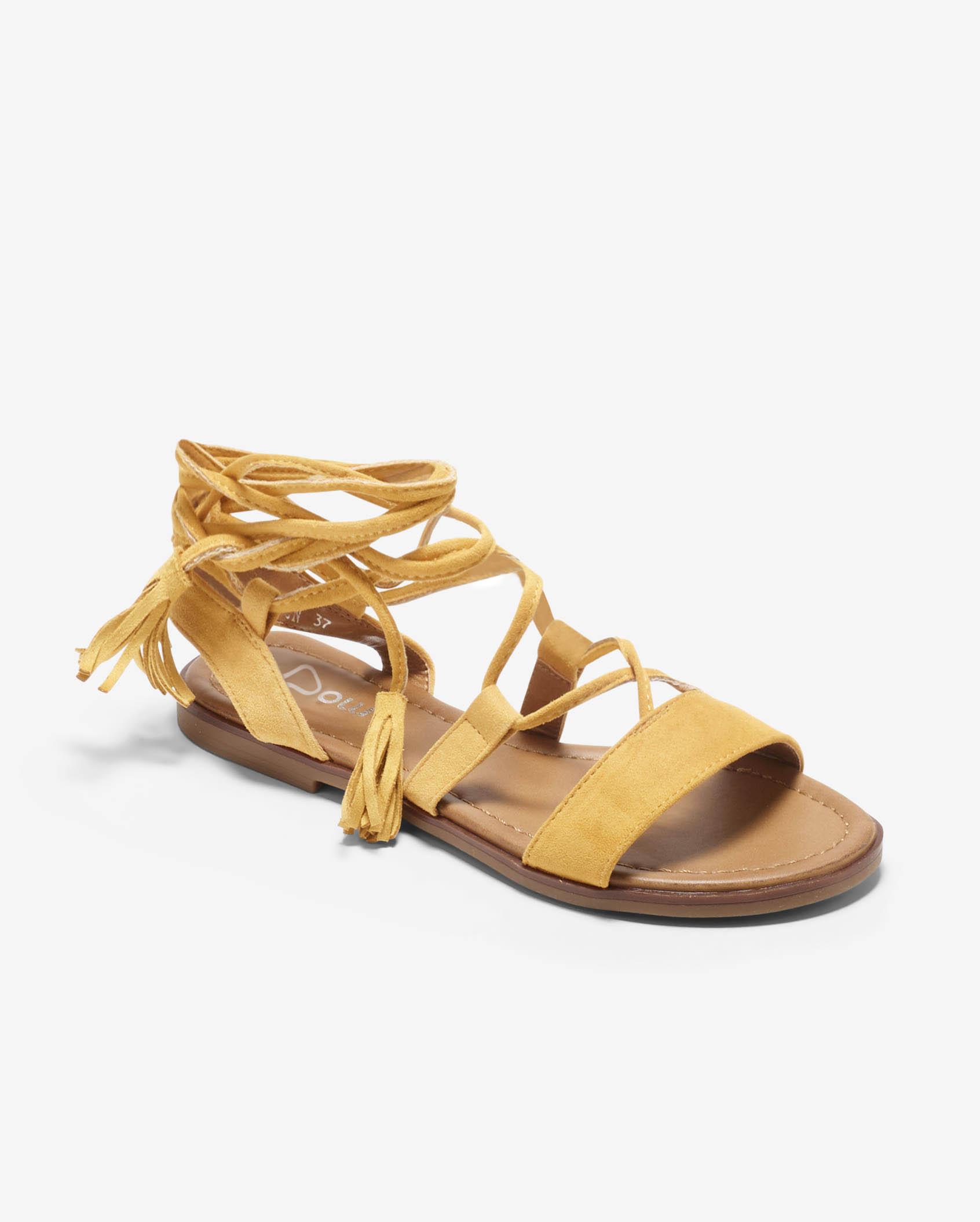Sandales Plates Femme - Sandale Plate Ocre Jina - Sp2435