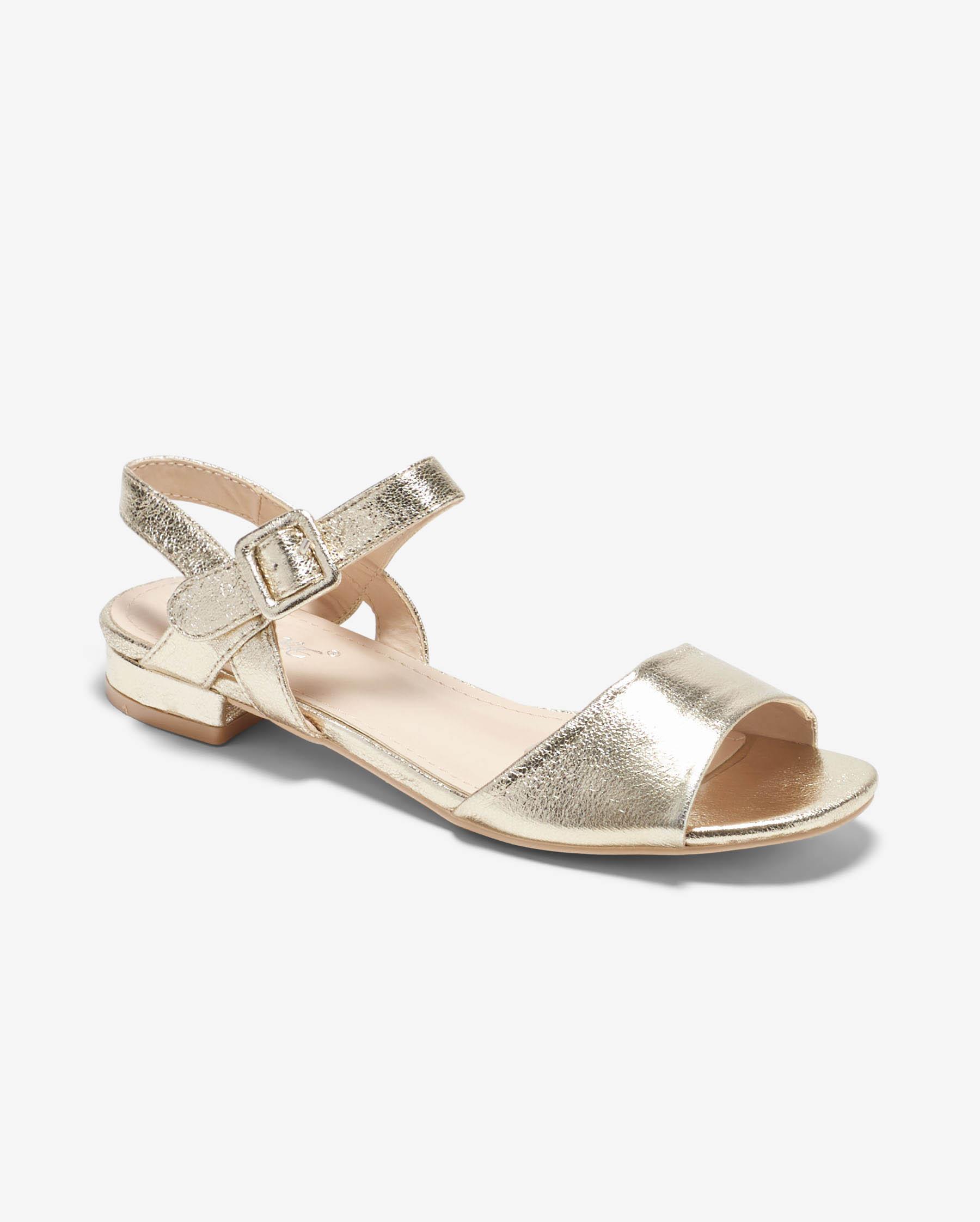 Sandales Plates Femme - Sandale Plate Or Jina - Ve806
