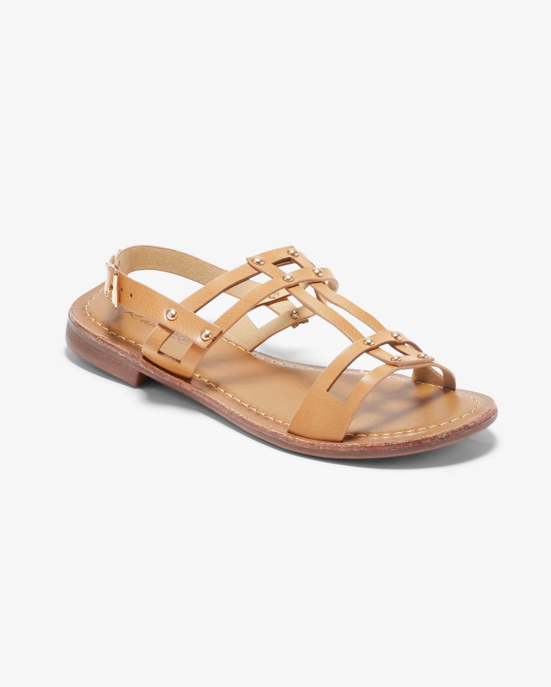 Sandales Plates Femme - Sandale Plate Beige Jina - Ve560