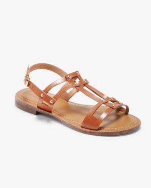 Sandales Plates Femme - Sandale Plate Camel Jina - Ve560