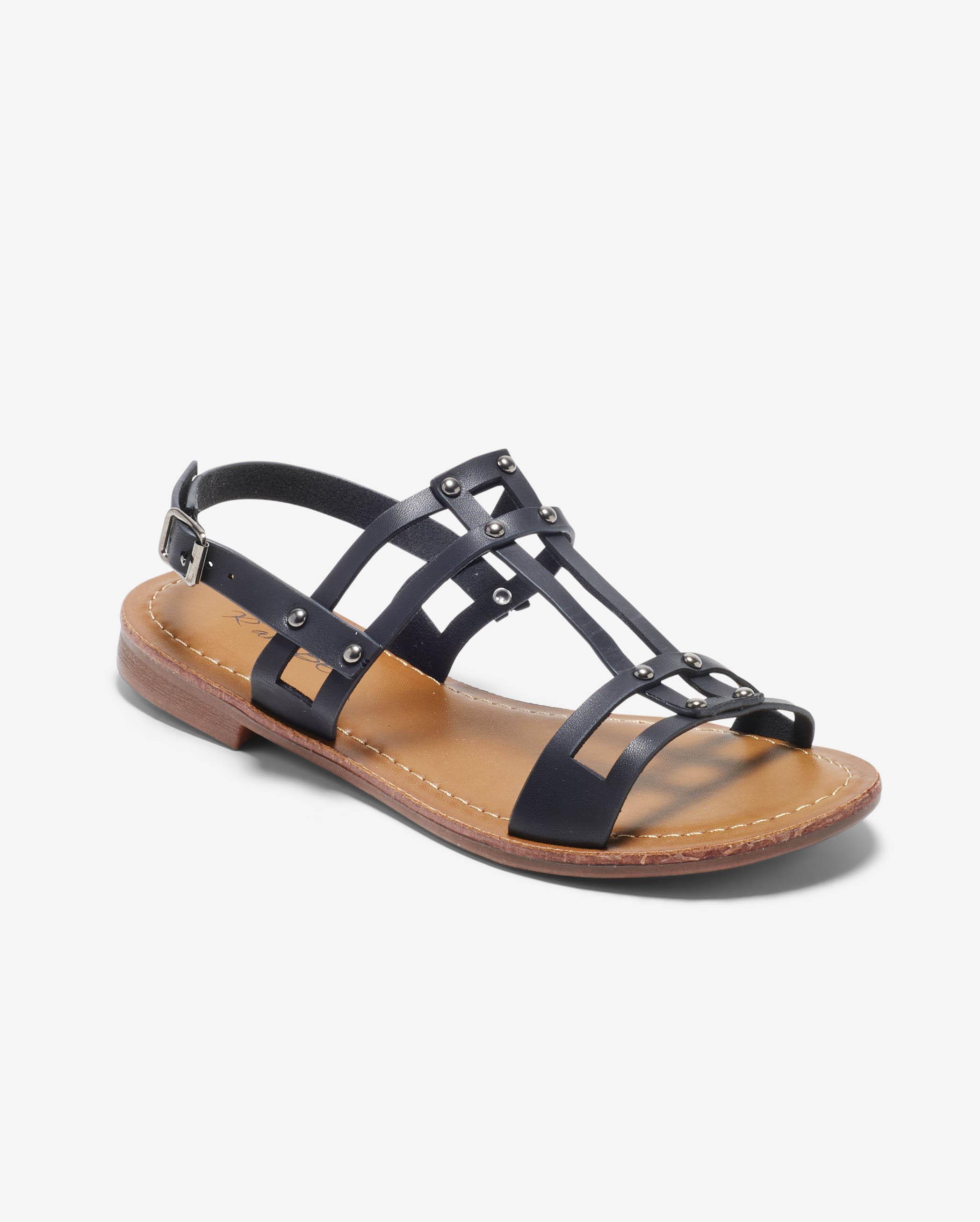 Sandales Plates Femme - Sandale Plate Noir Jina - Ve560