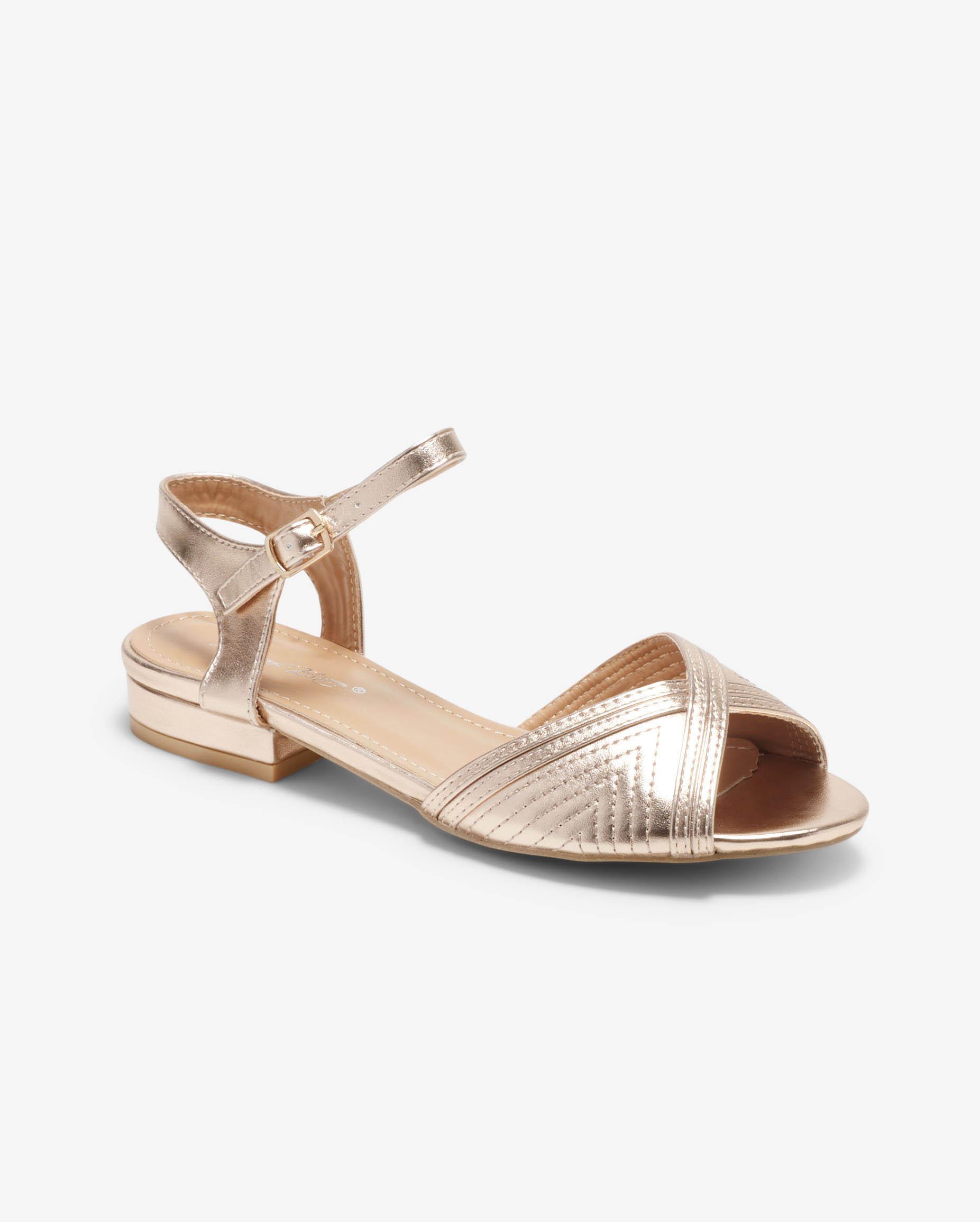 Sandales Plates Femme - Sandale Plate Champagne Jina - Ve592