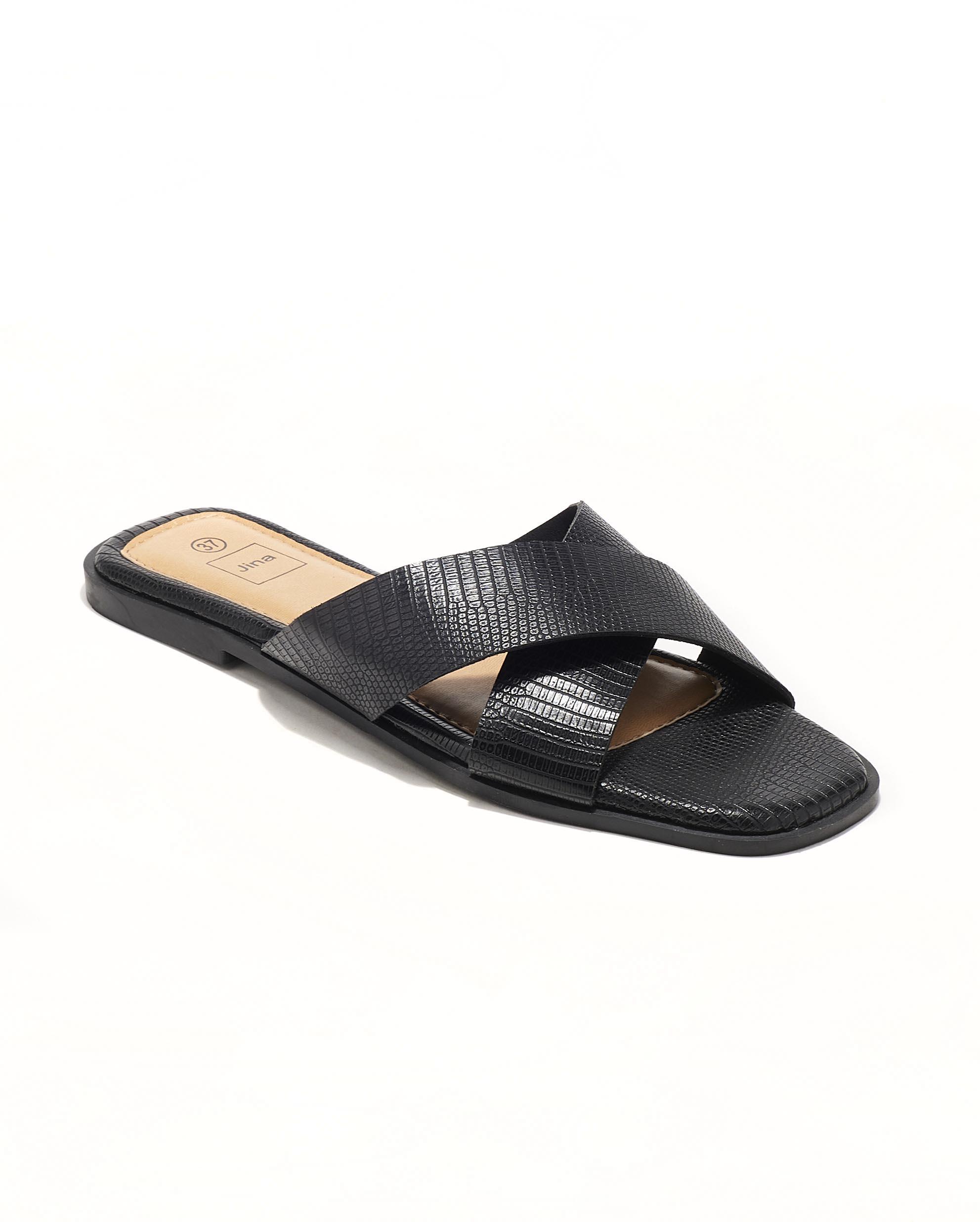 Mules Femme - Mule Plate Noir Jina - Style 8 Zh P06