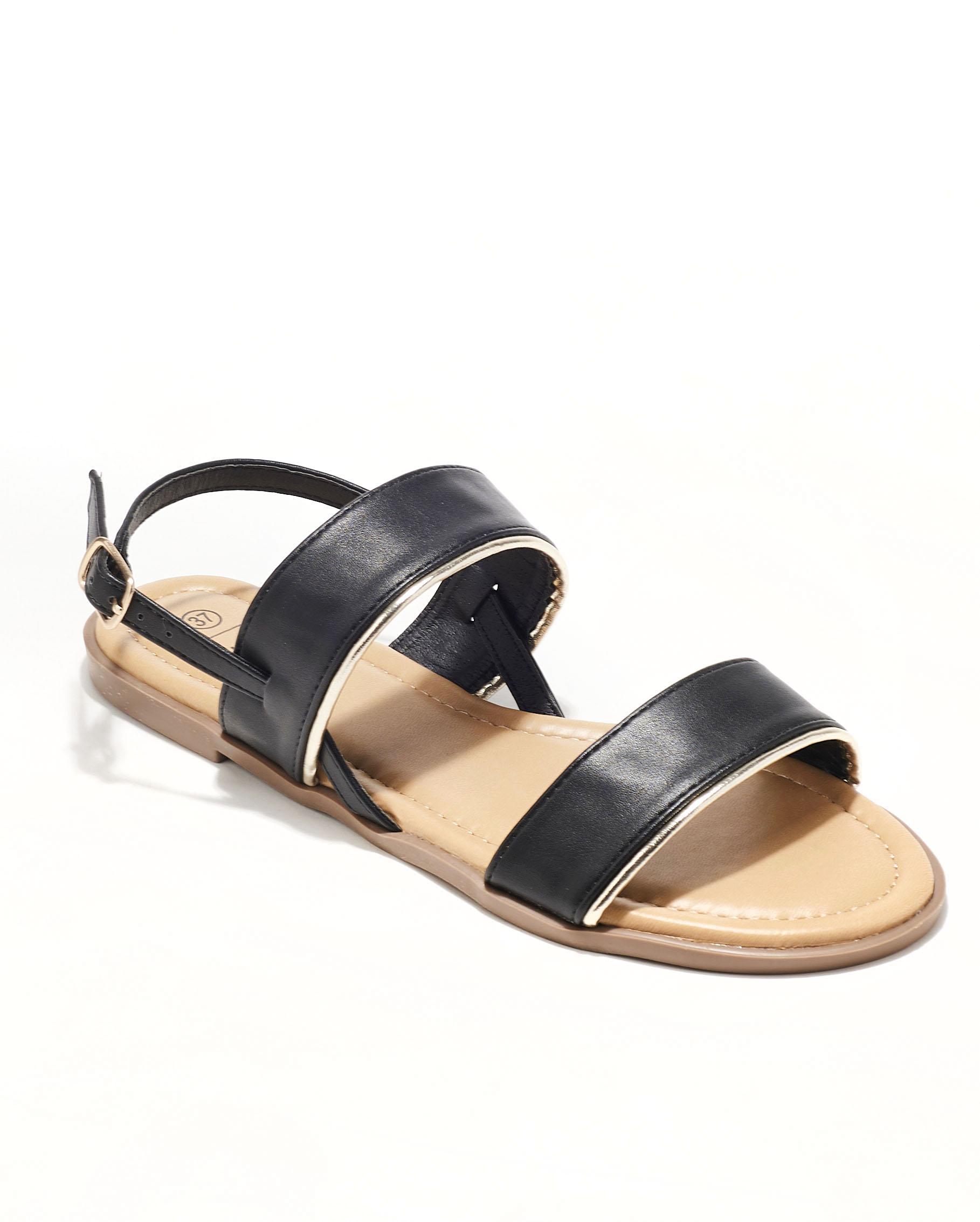 Sandales Plates Femme - Sandale Plate Noir Jina - Style 4 Zh P06