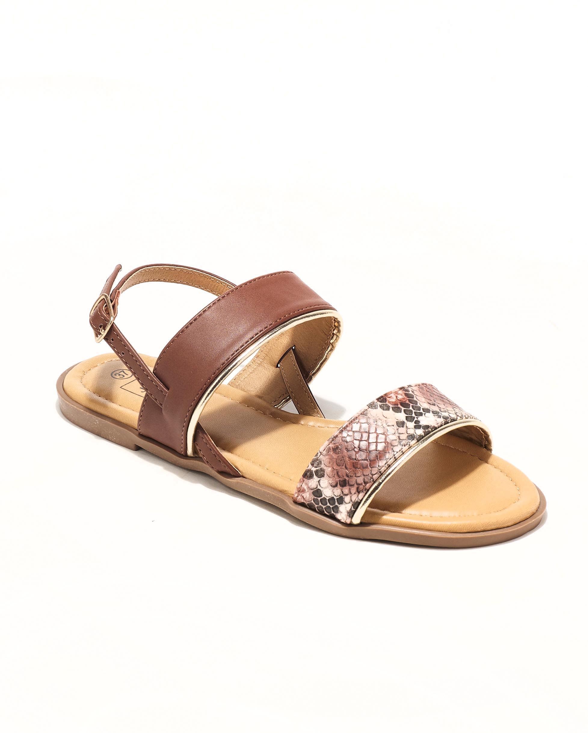 Sandales Plates Femme - Sandale Plate Python Marron Jina - Style 4 Zh P06