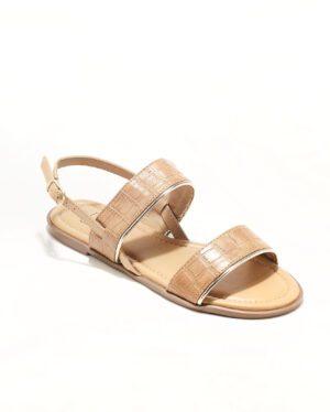 Sandales Plates Femme - Sandale Plate Croco Beige Jina - Style 4 Zh P06
