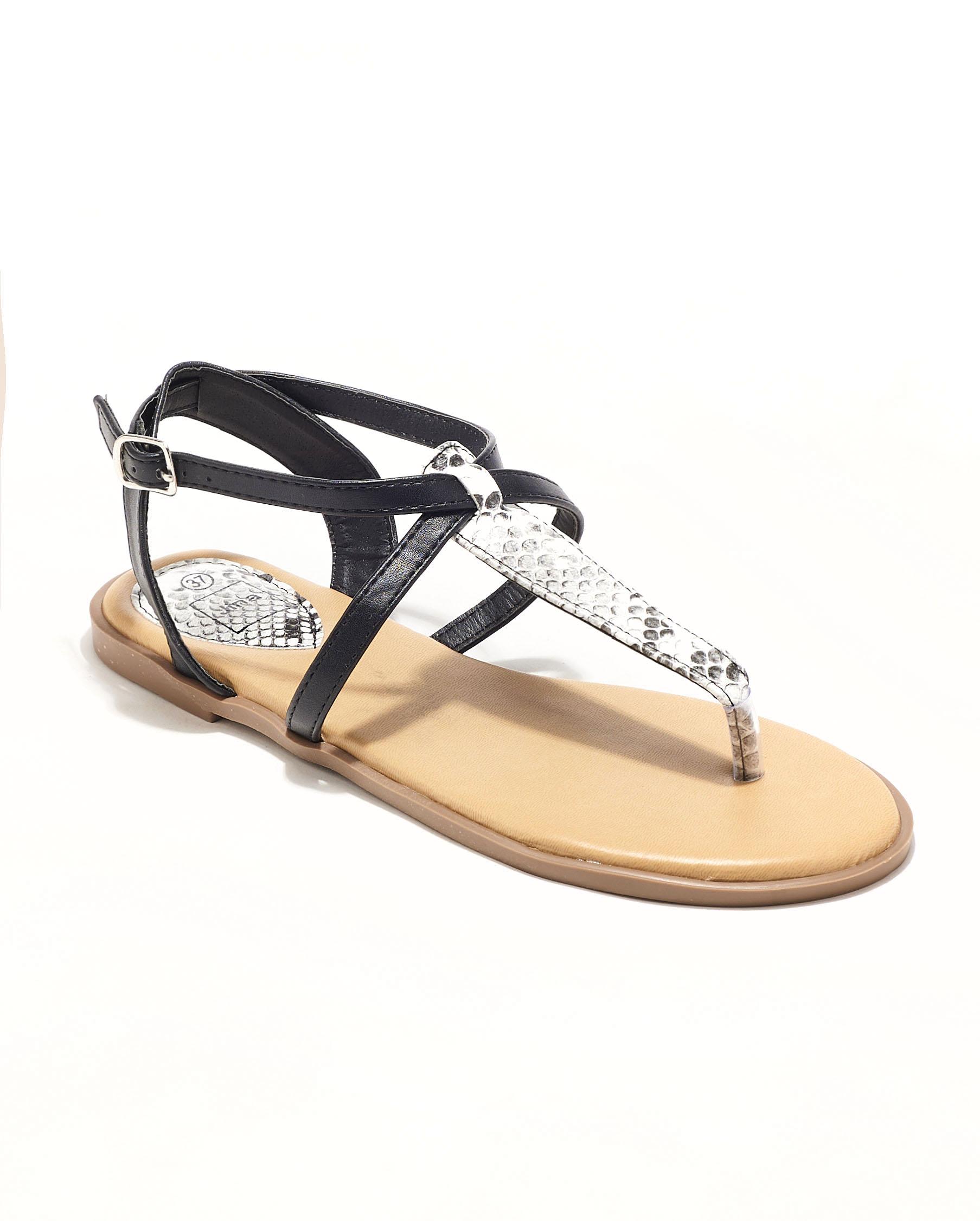 Sandales Plates Femme - Sandale Plate Python Noir Jina - Style 1 Zh P06