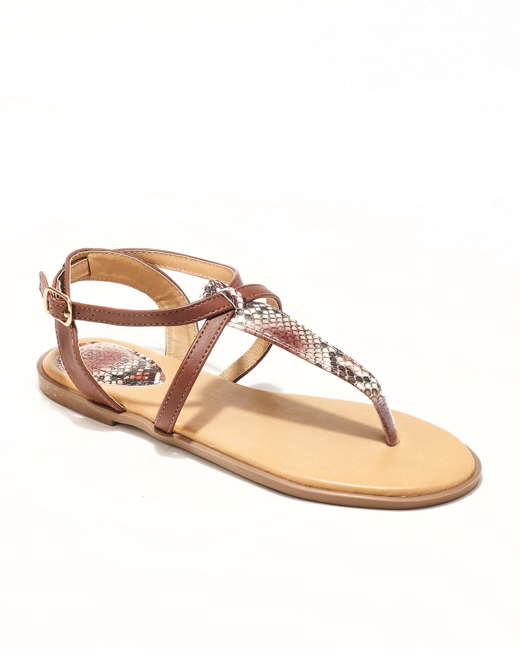 Sandales Plates Femme - Sandale Plate Python Marron Jina - Style 1 Zh P06