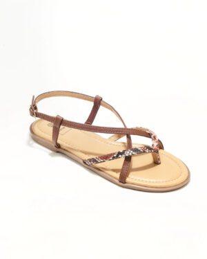 Sandales Plates Femme - Sandale Plate Python Marron Jina - Style 2 Zh P06
