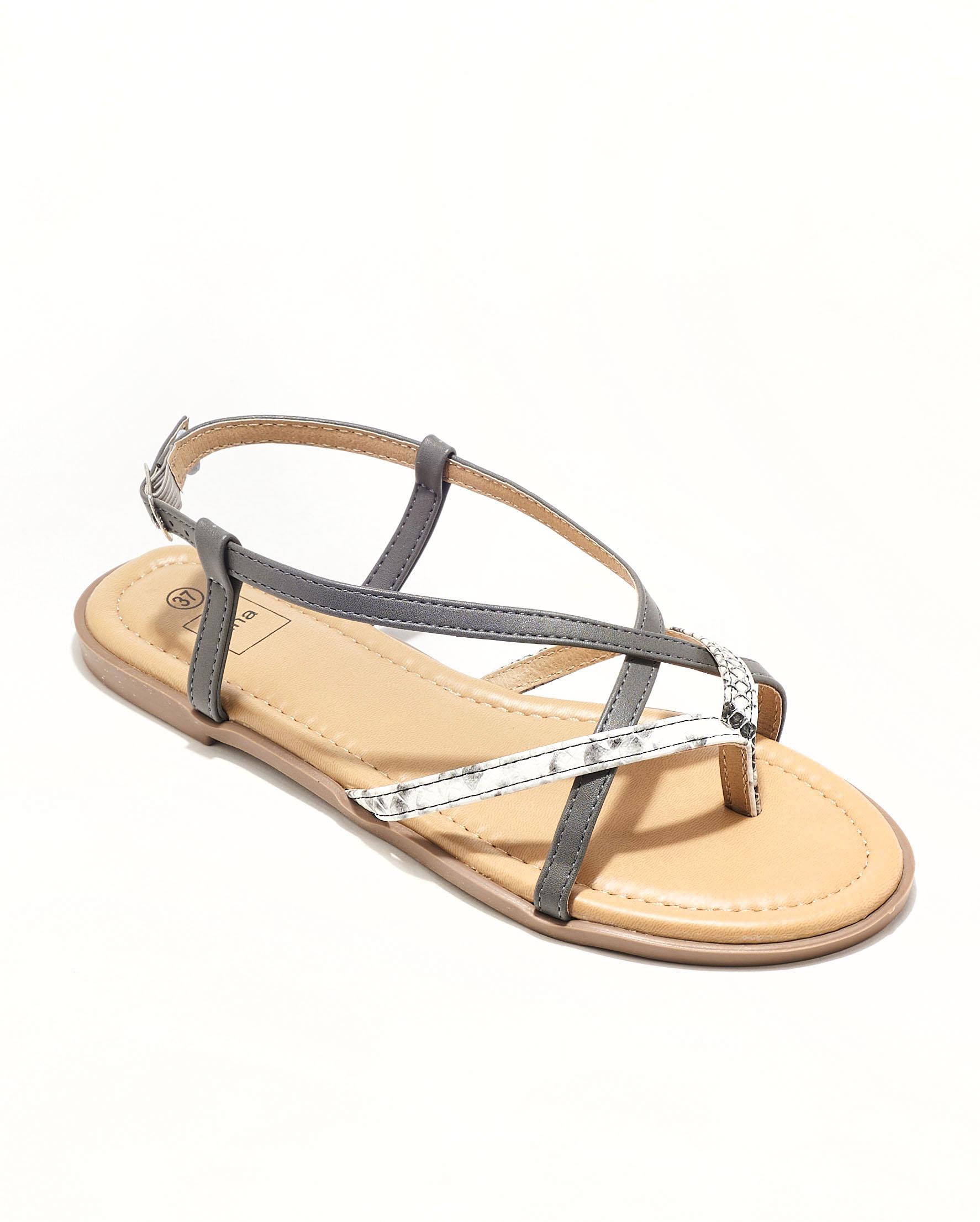 Sandales Plates Femme - Sandale Plate Python Gris Jina - Style 2 Zh P06
