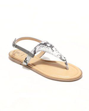 Sandales Plates Femme - Sandale Plate Python Gris Jina - Style 3 Zh P06