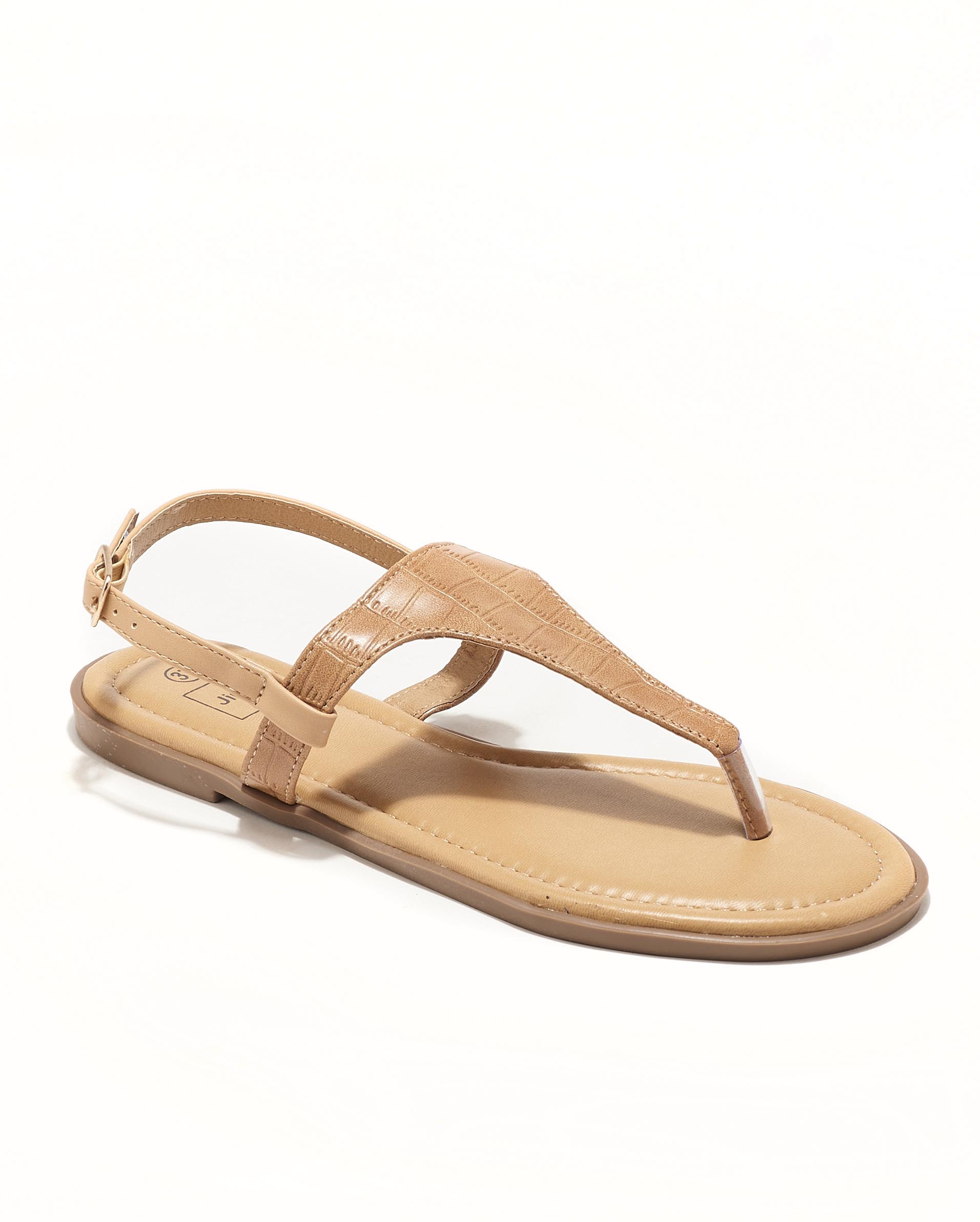 Sandales Plates Femme - Sandale Plate Croco Beige Jina - Style 3 Zh P06