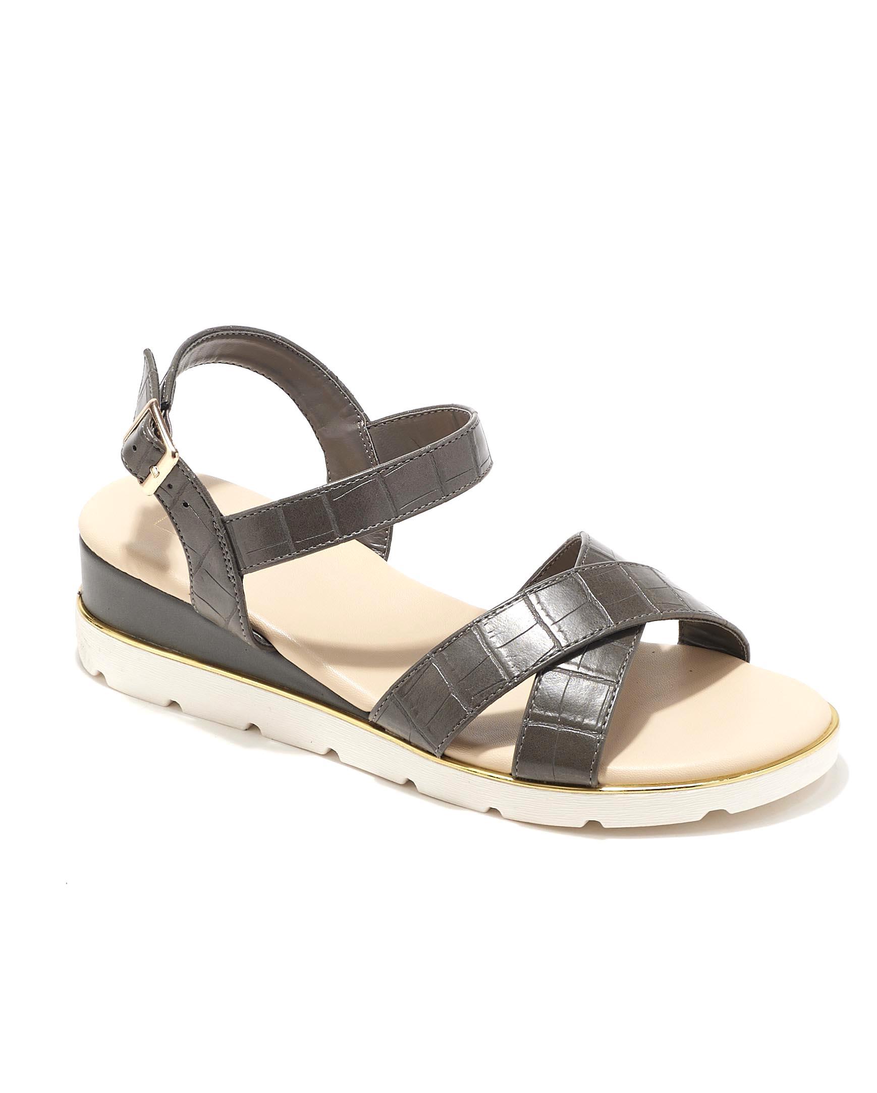 Sandales Compensées Femme - Sandale Talon Compensee Croco Anthracite Jina - C5-000-1a