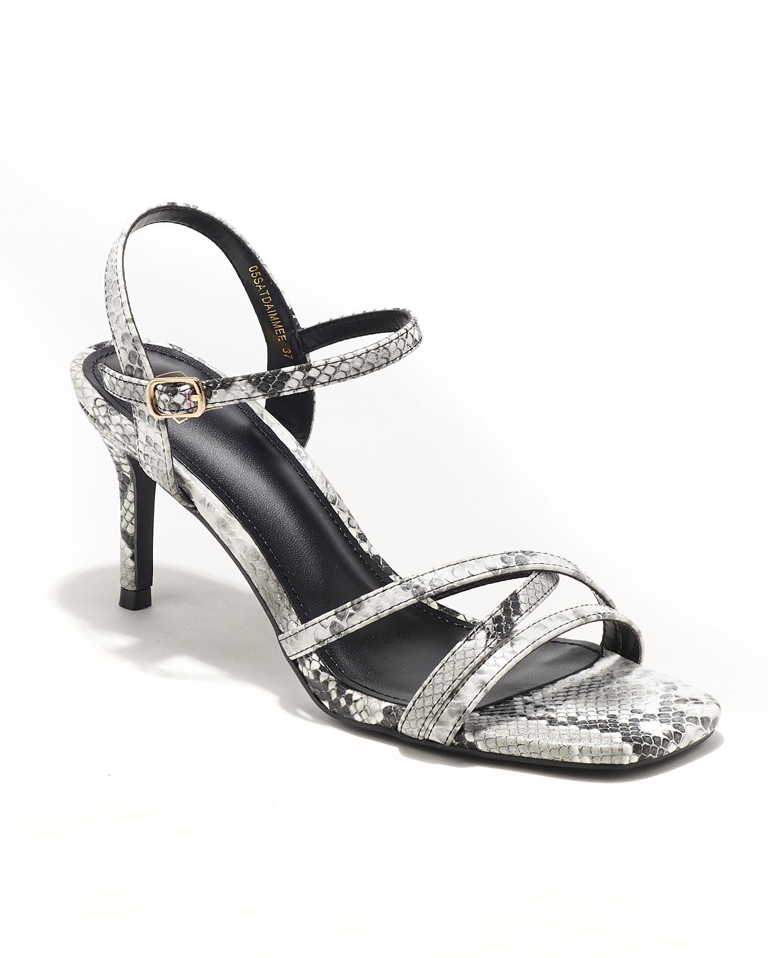 Sandales À Talons Femme - Sandale Talon Decrochee Python Gris Jina - W-L88-18