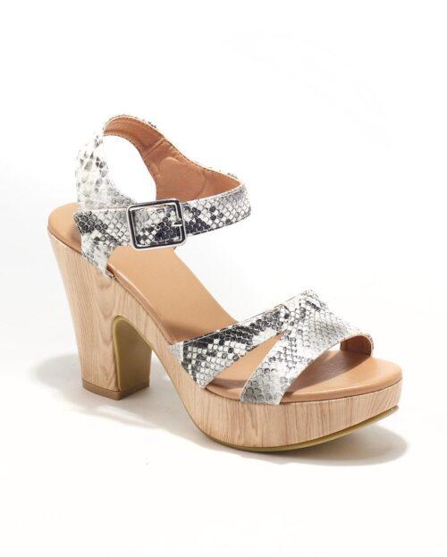 Sandales À Talons Femme - Sandale Talon Decrochee Python Gris Jina - C16-5-Cosimo