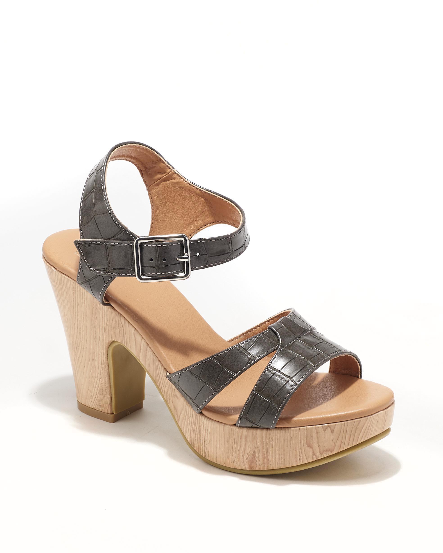 Sandales À Talons Femme - Sandale Talon Decrochee Croco Anthracite Jina - C16-5-Cosimo