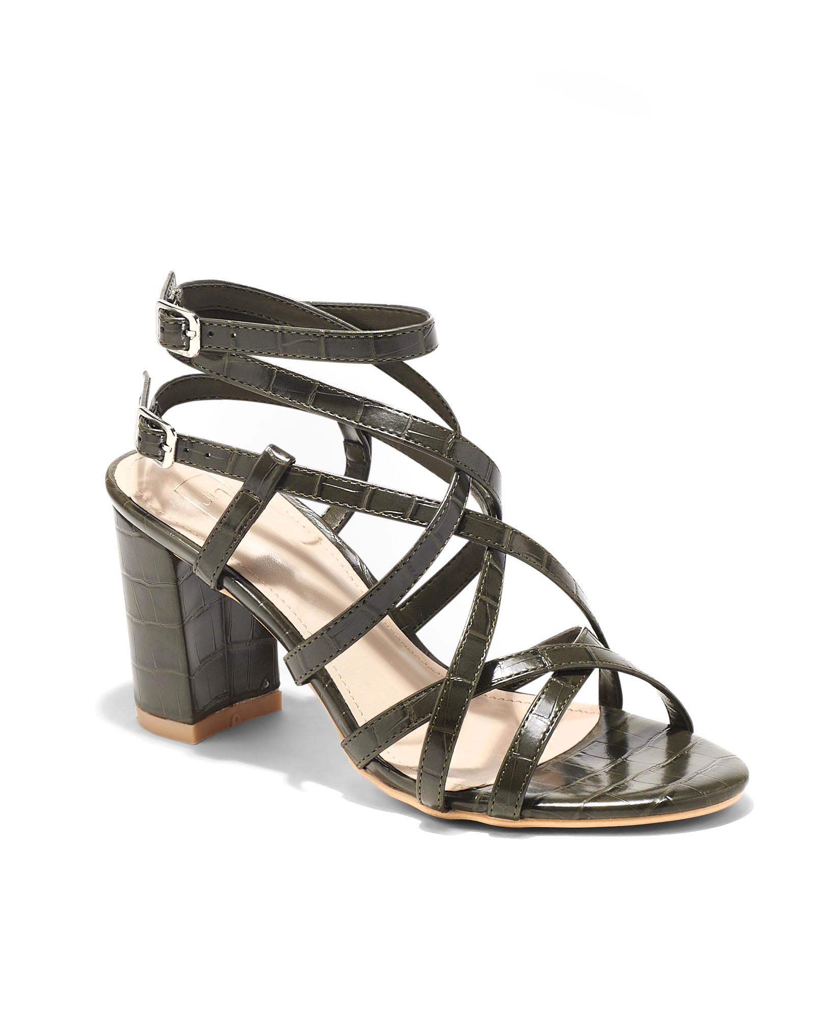 Sandales À Talons Femme - Sandale Talon Decrochee Croco Olive Jina - W-88956-62a