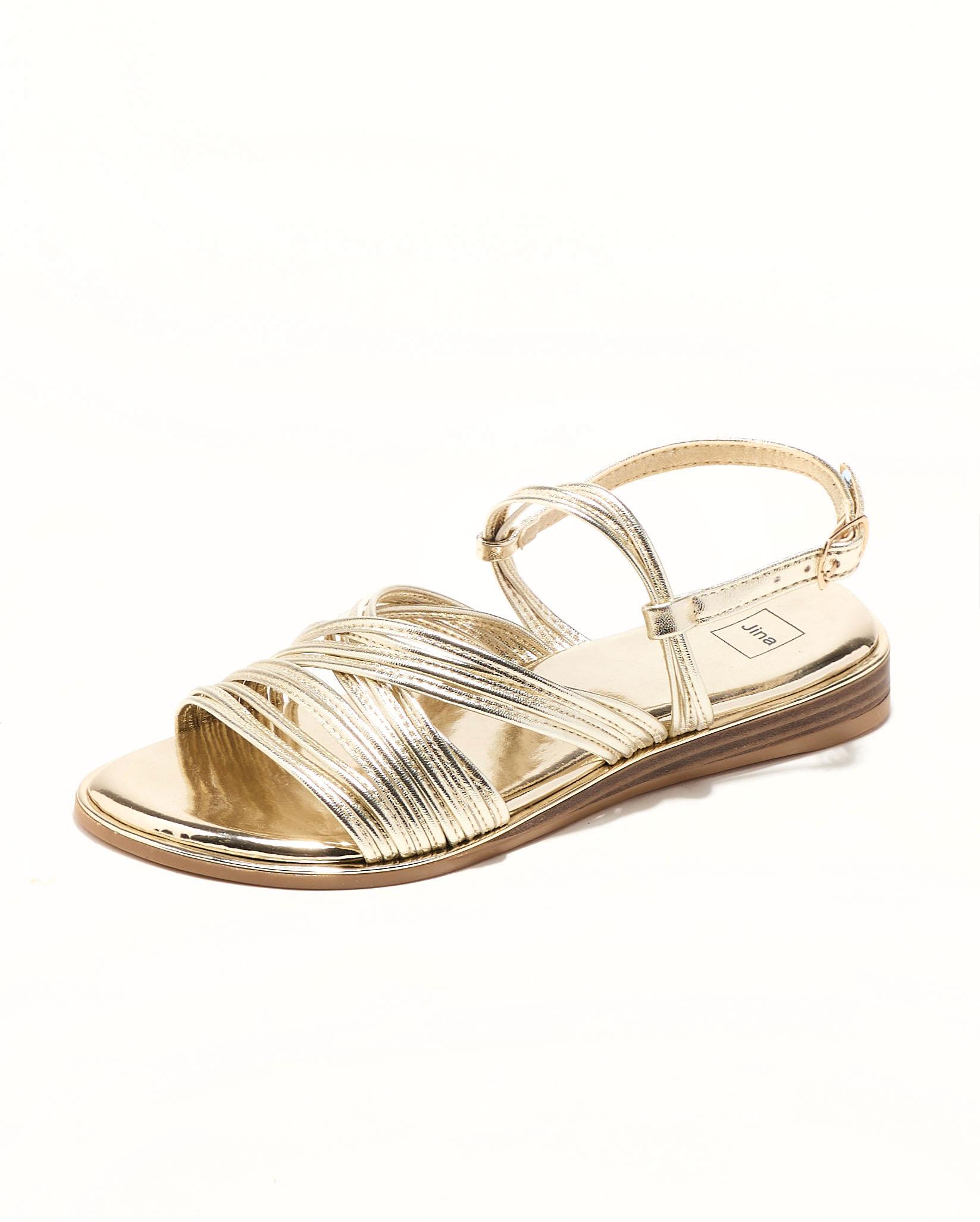 Sandales Plates Femme - Sandale Plate Or Jina - Fs073042
