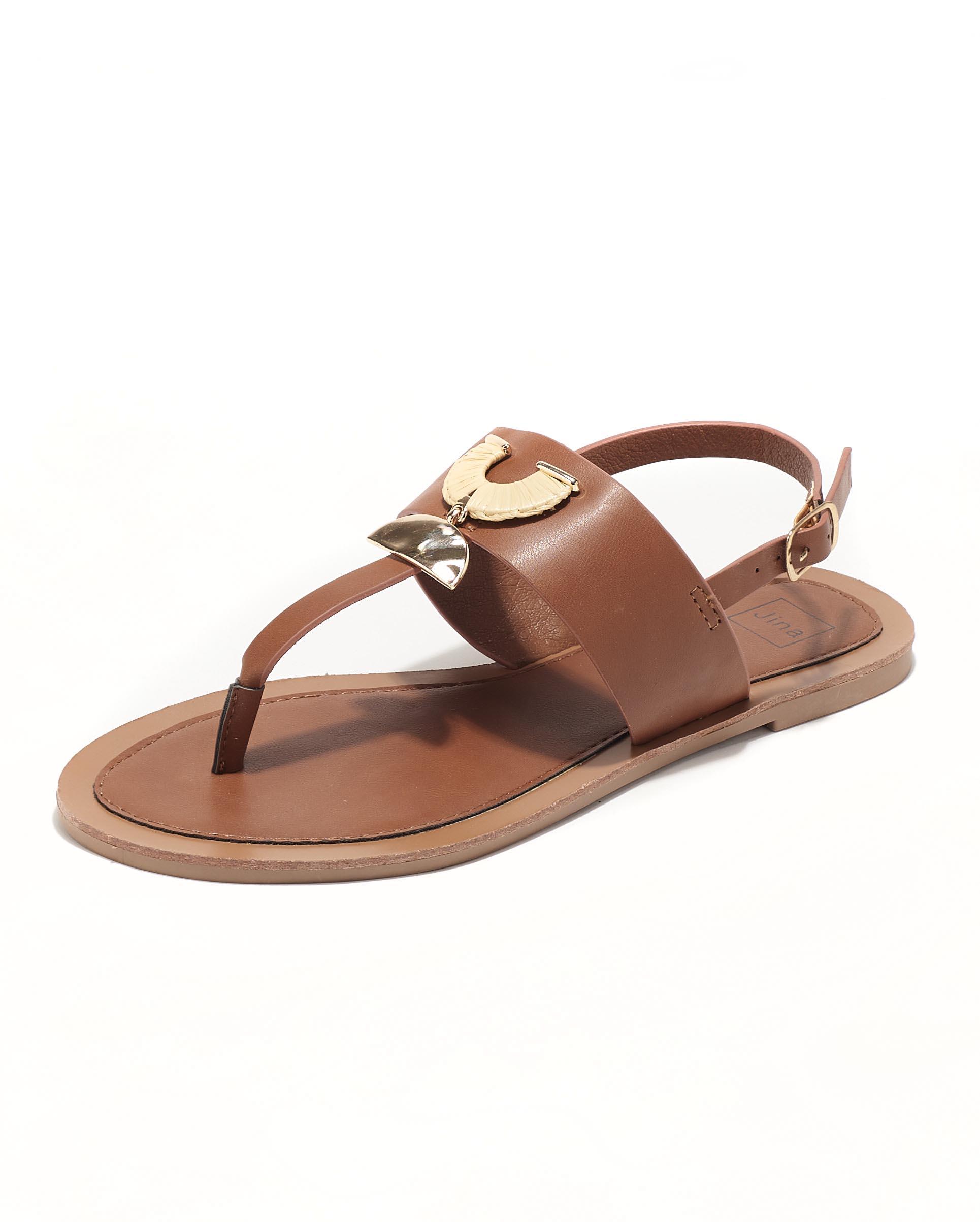 Sandales Plates Femme - Sandale Plate Camel Jina - Fs072548