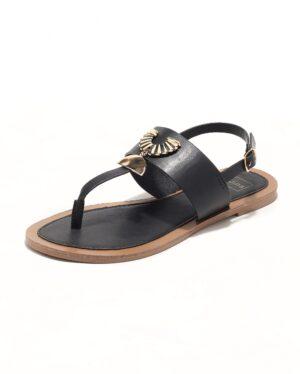 Sandales Plates Femme - Sandale Plate Noir Jina - Fs072548