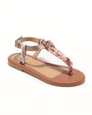 Sandales Fille - Sandale Ouverte Python Marron Jina - Ydxls23j-3 Jf