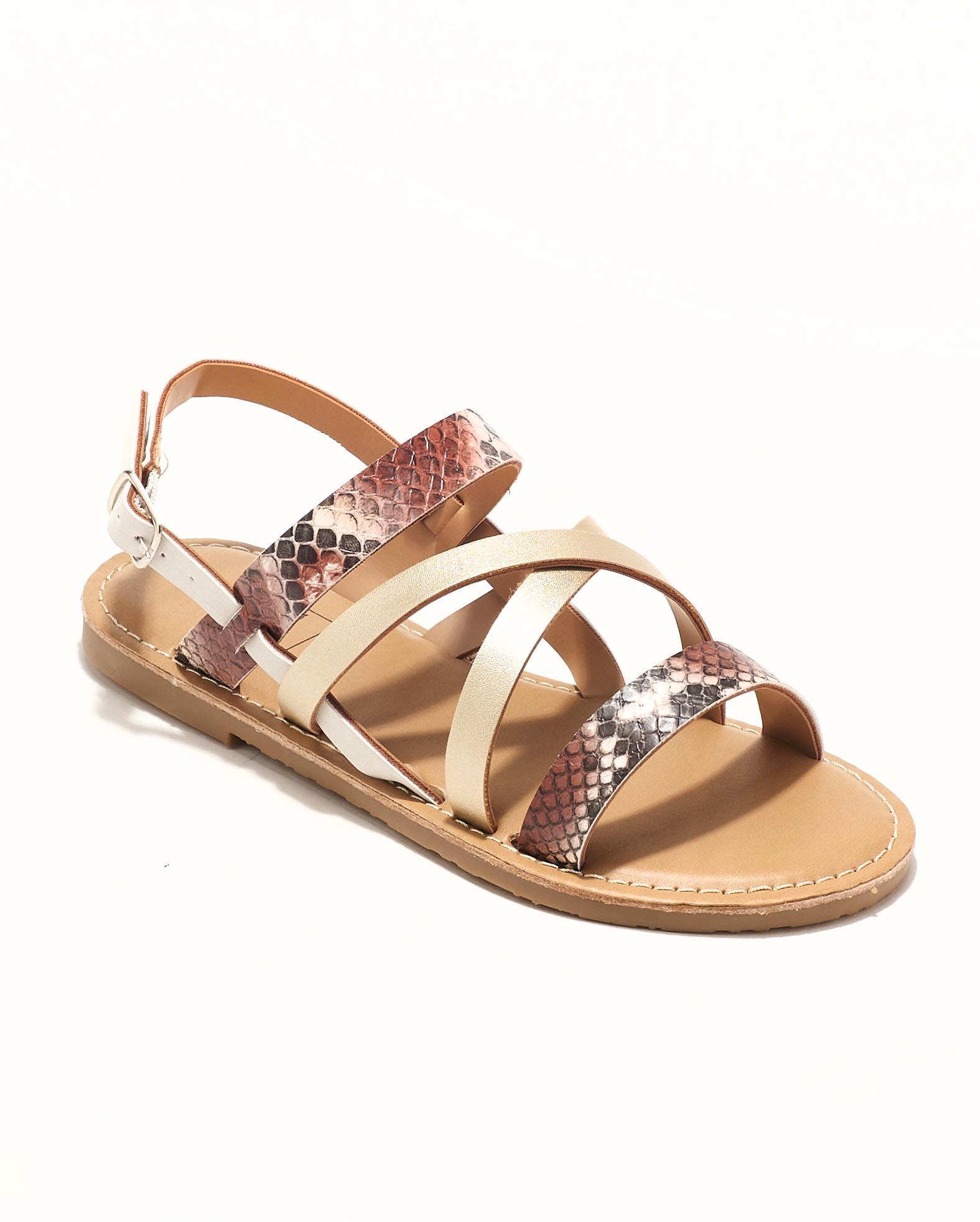 Sandales Fille - Sandale Ouverte Python Marron Jina - Ydxls23j-2 Jf