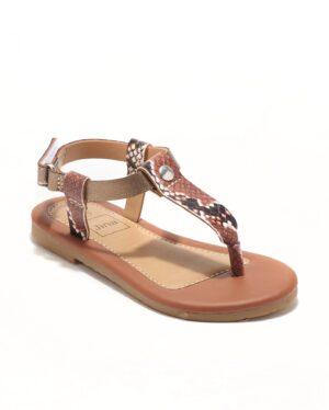 Sandales Fille - Sandale Ouverte Python Marron Jina - Ydxls23j-3