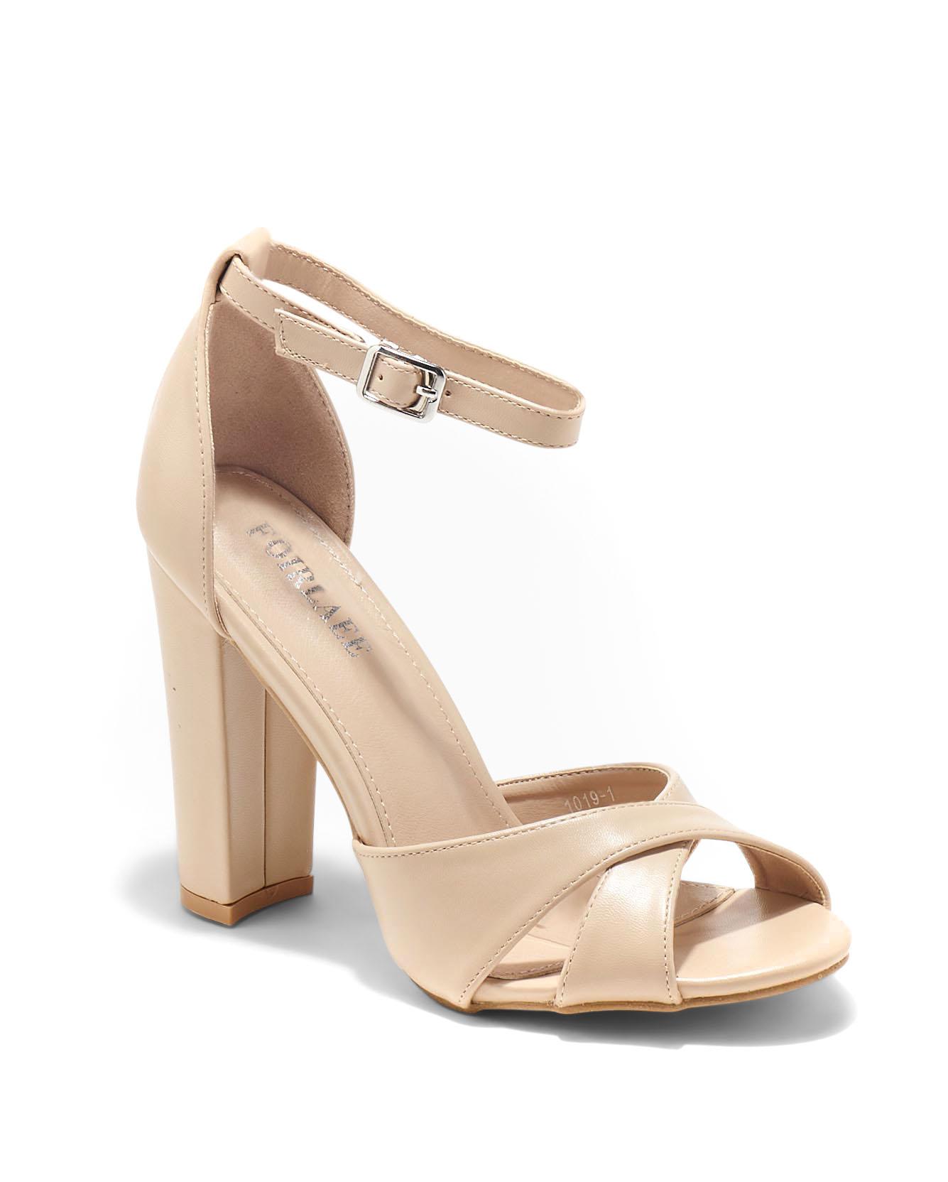 Sandales À Talons Femme - Sandale Talon Decrochee Beige Jina - 1019-1