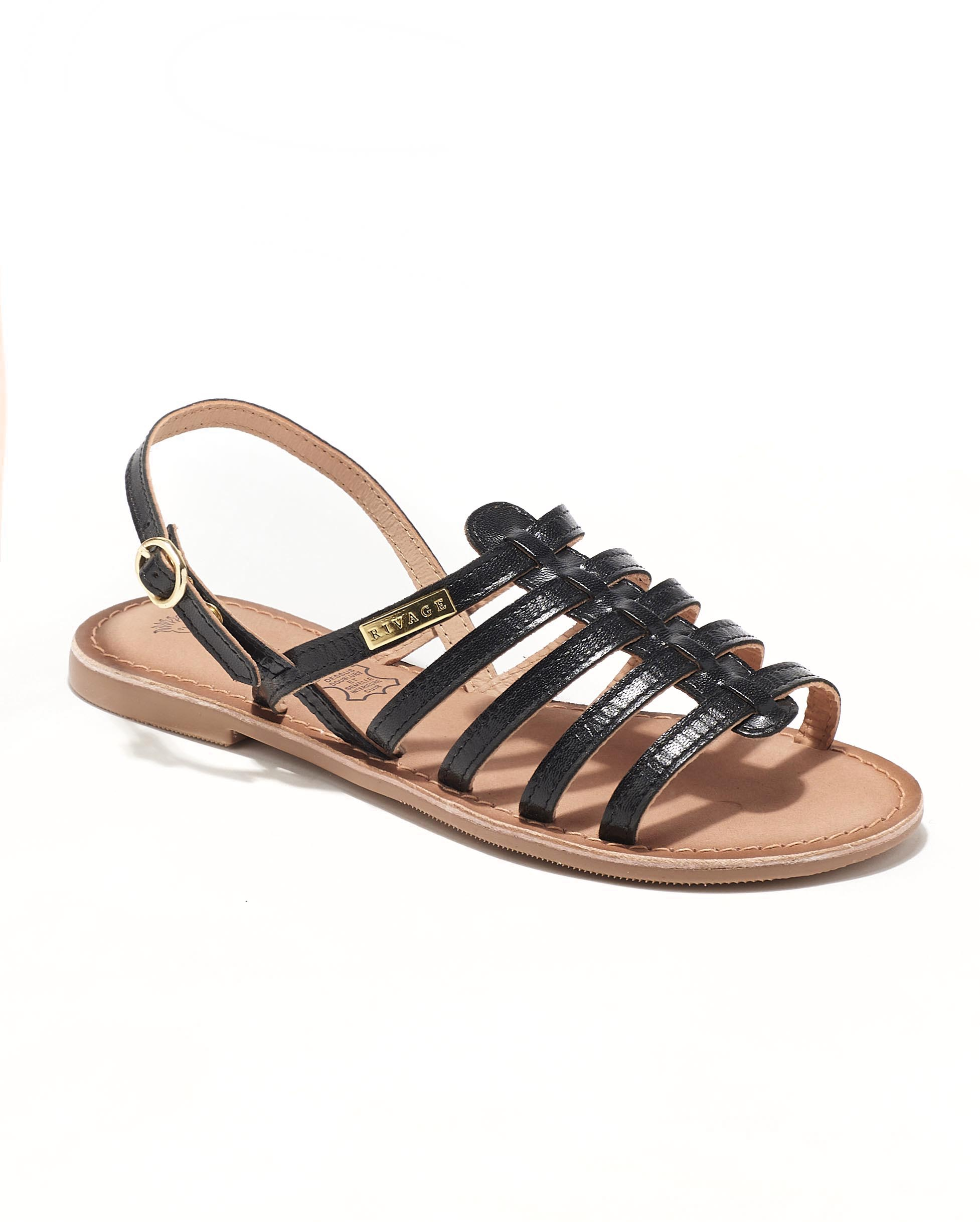 Sandales Plates Femme - Sandale Plate Noir Jina - E-020607