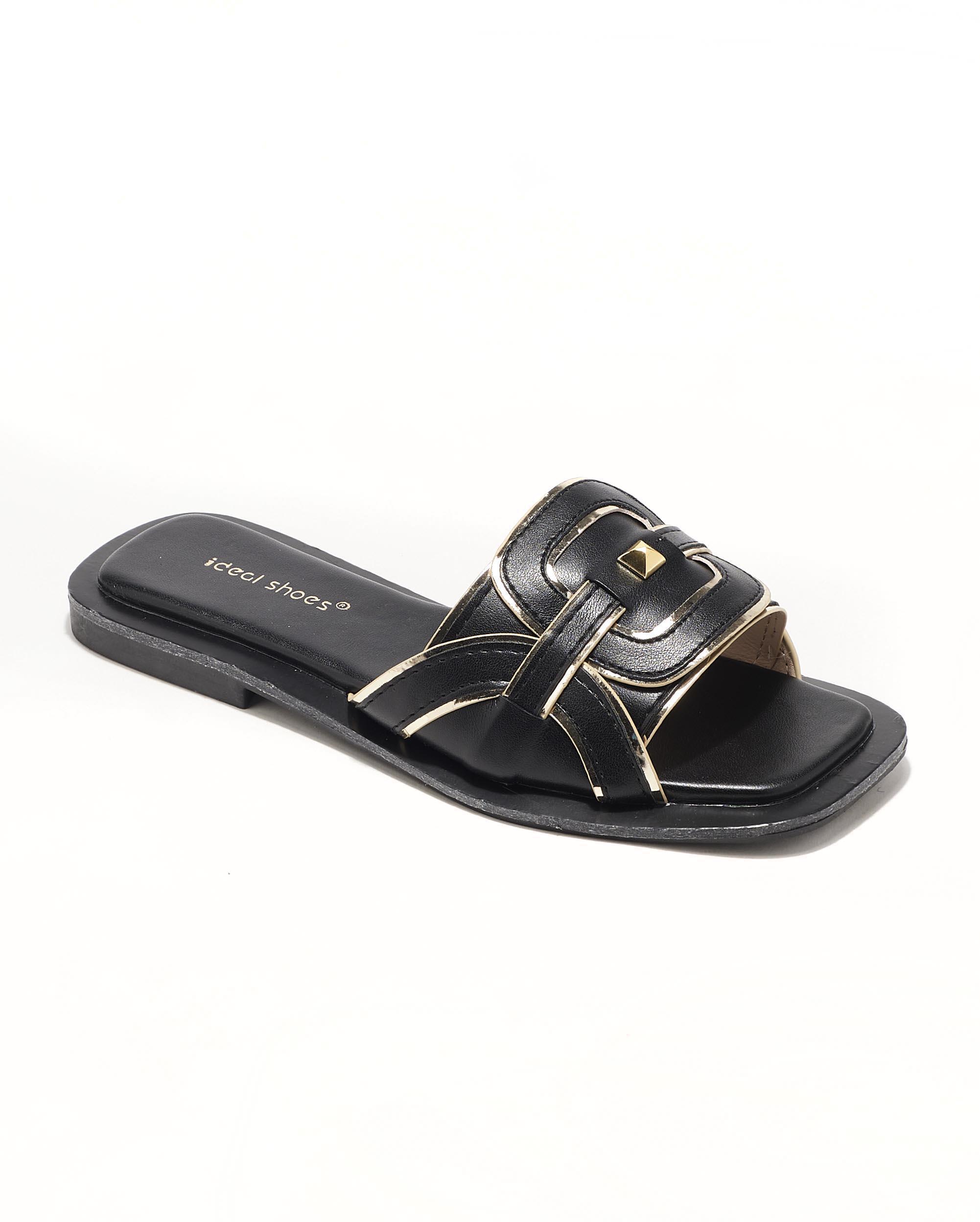 Mules Femme - Mule Plate Noir Jina - 3530