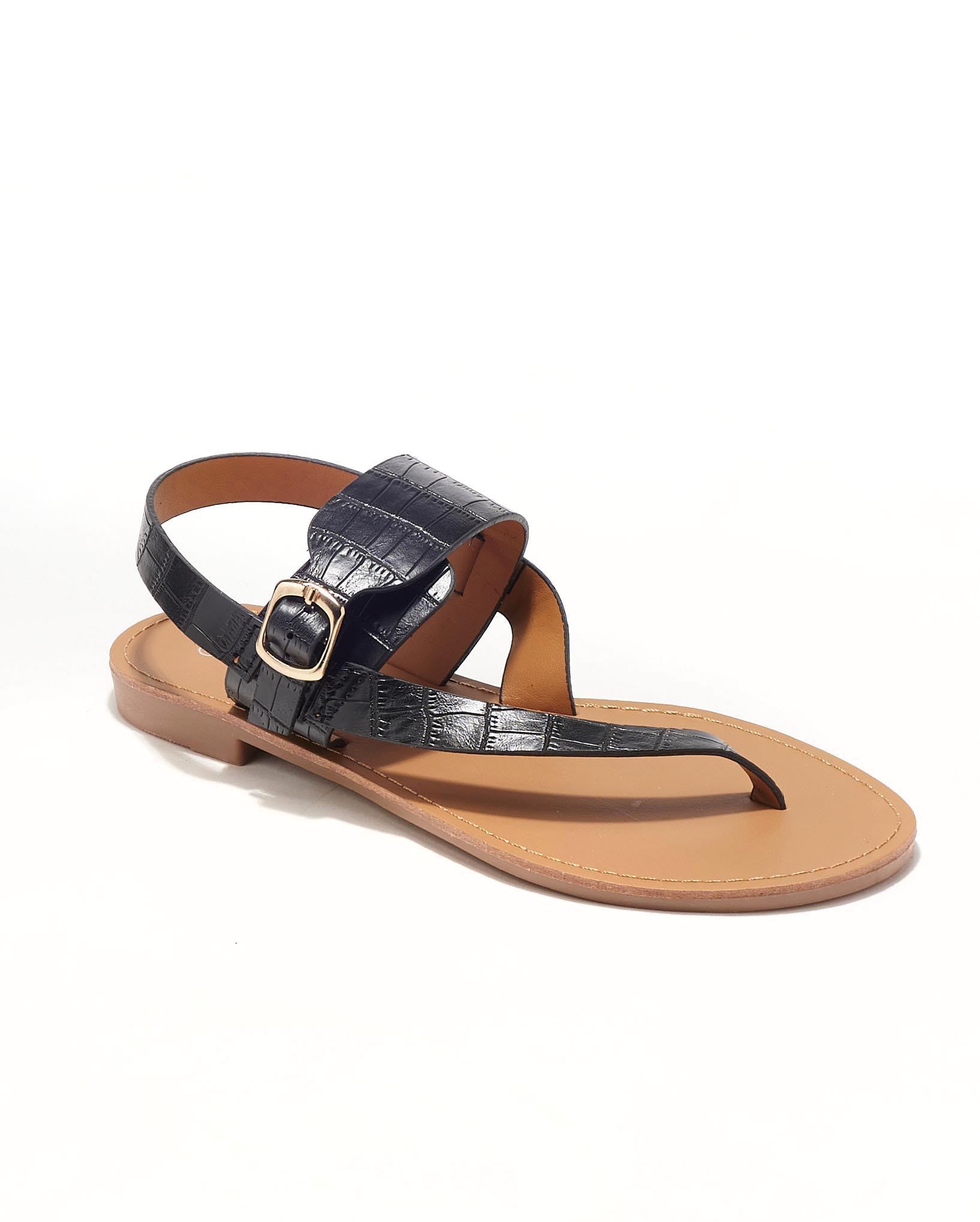 Sandales Plates Femme - Sandale Plate Noir Jina - Hy865