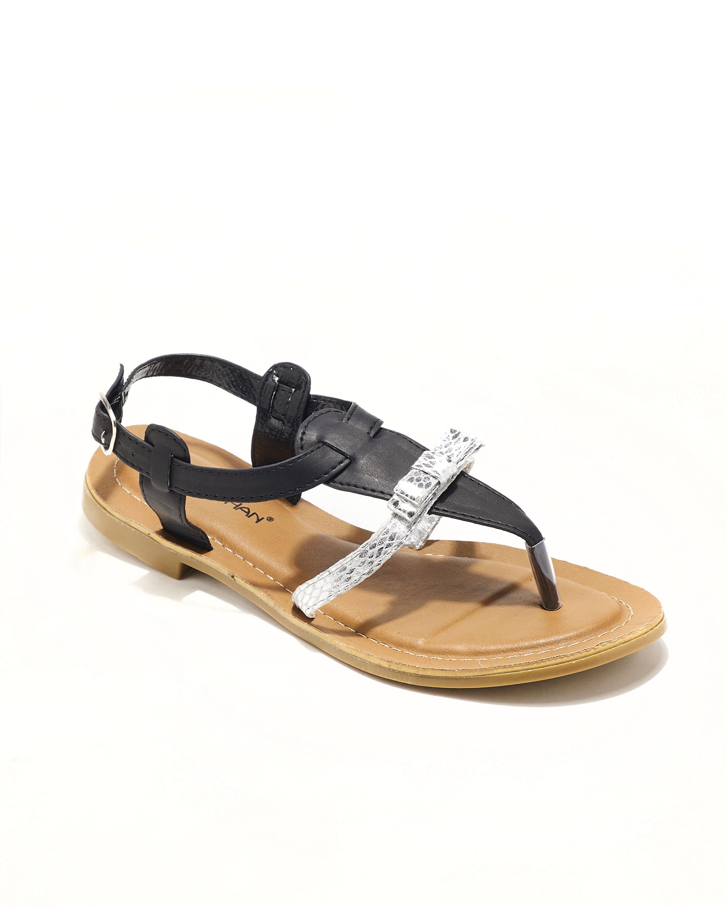 Sandales Plates Femme - Sandale Plate Noir Jina - P792