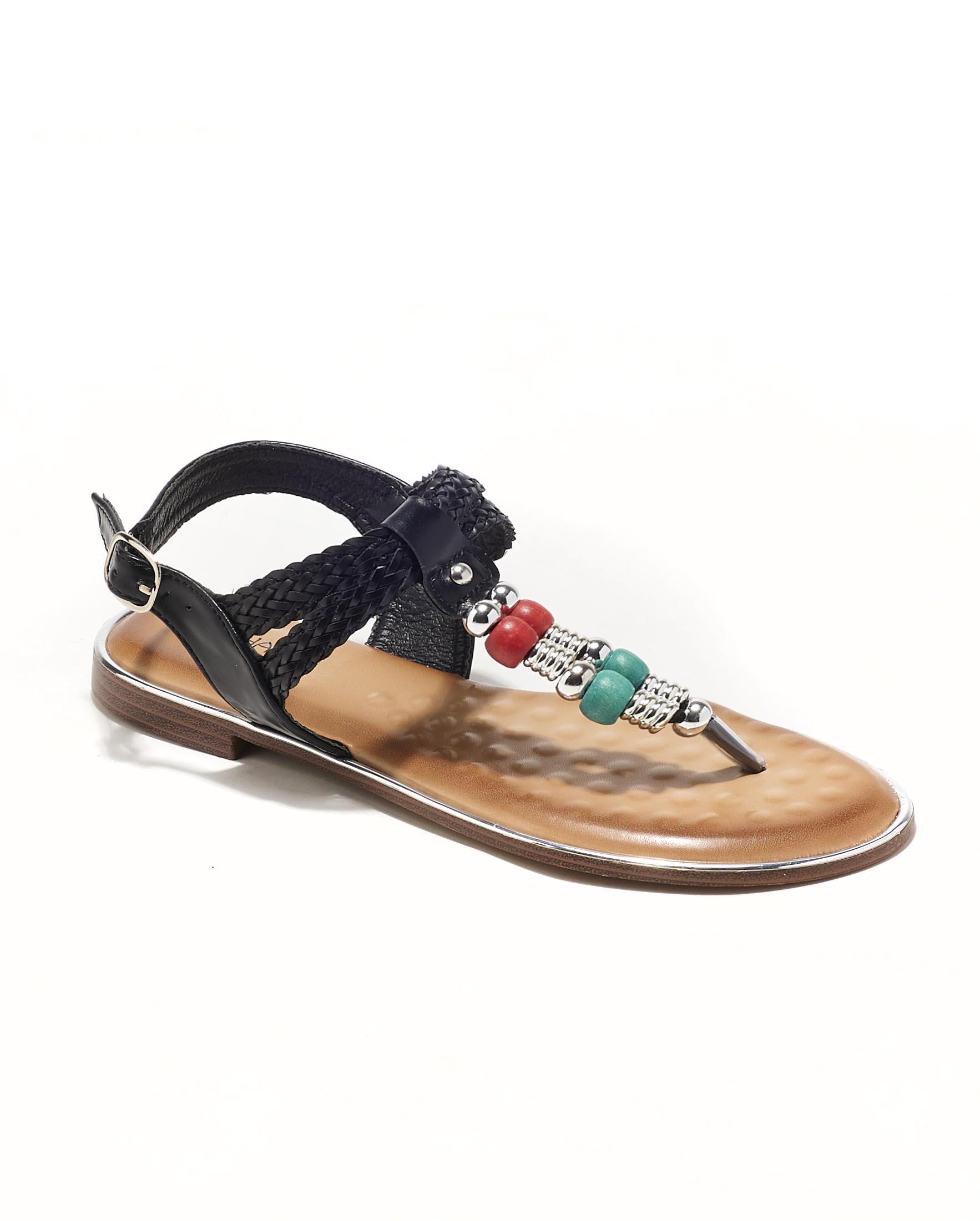Sandales Plates Femme - Sandale Plate Noir Jina - P-912