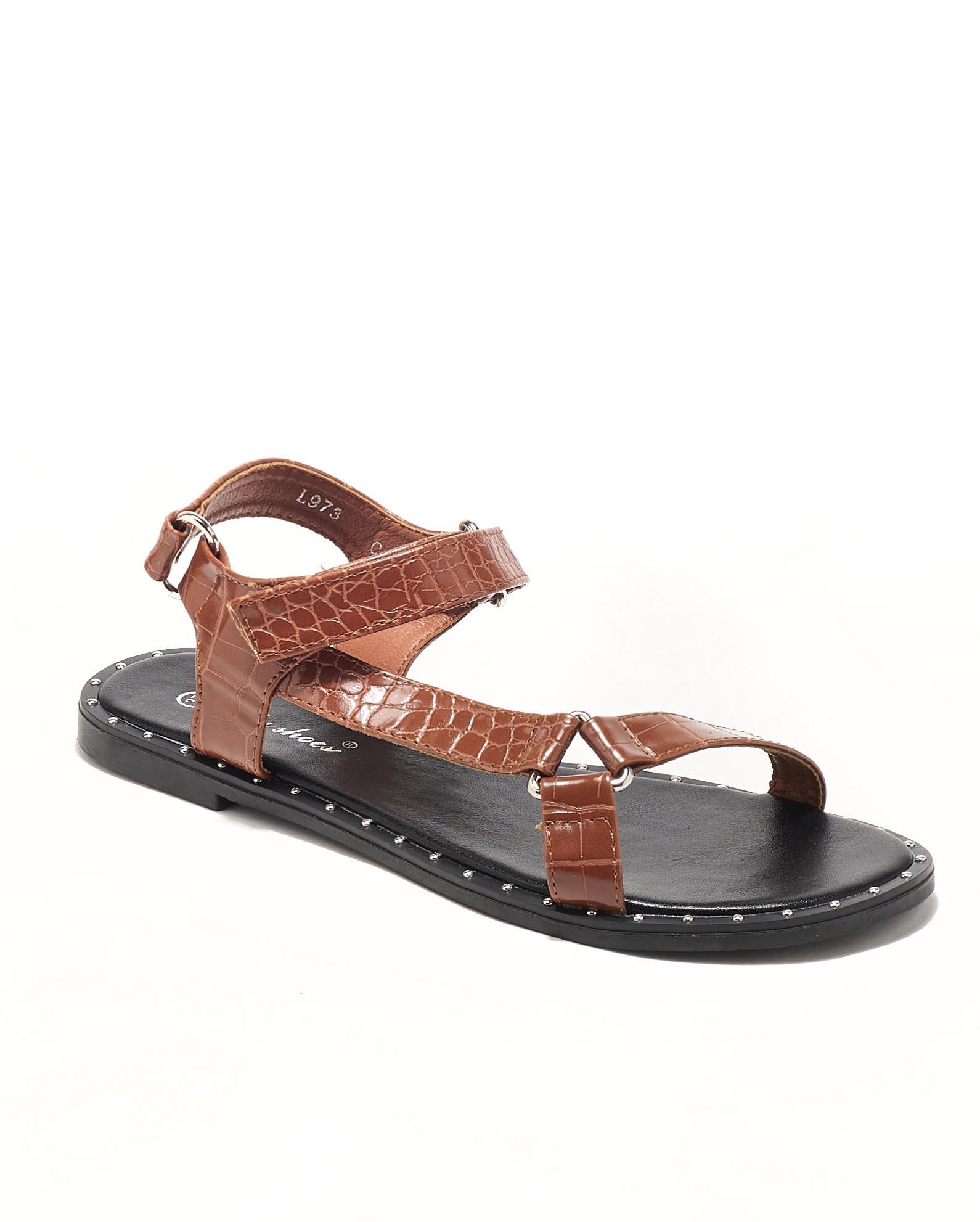 Sandales Plates Femme - Sandale Plate Camel Jina - L973