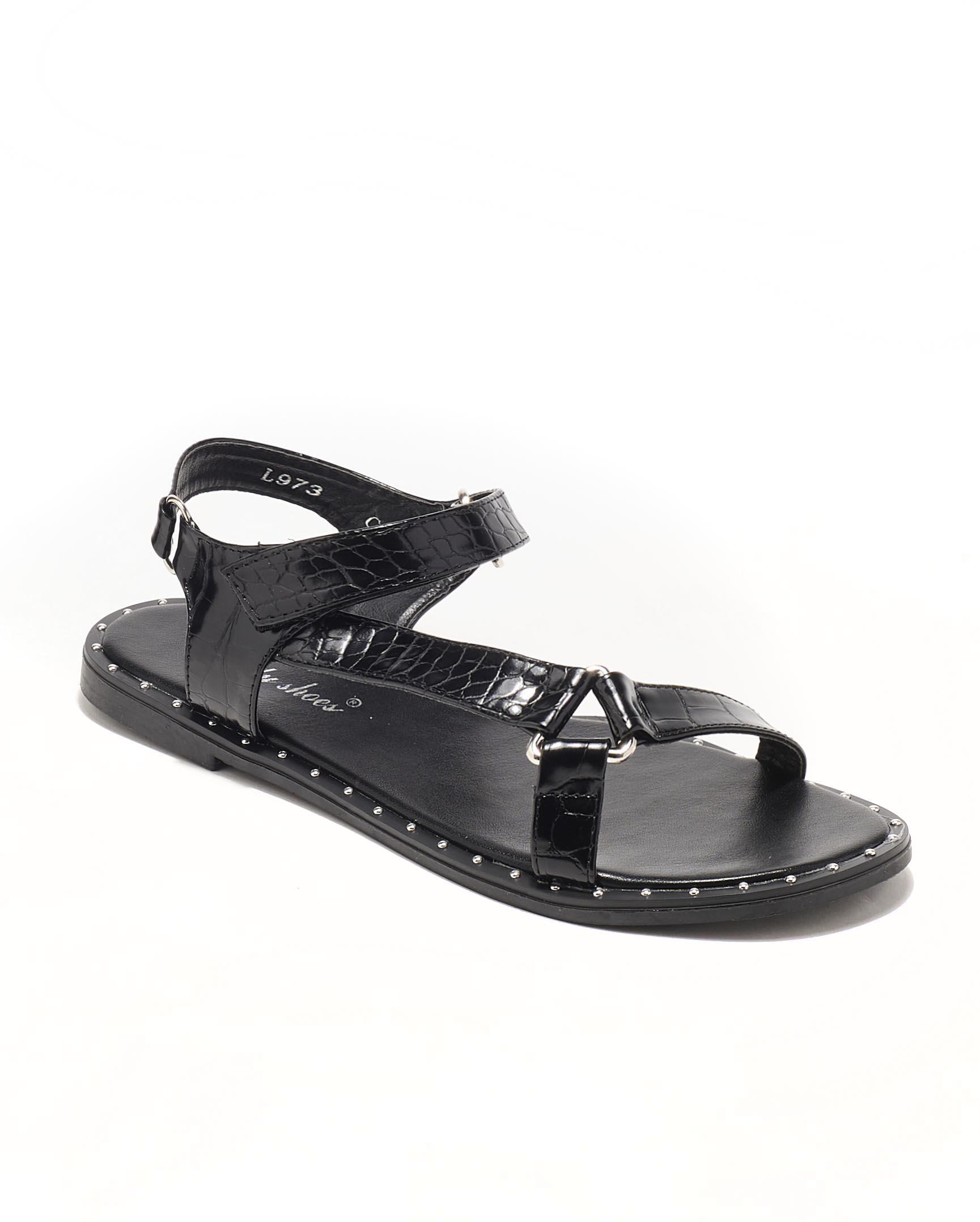 Sandales Plates Femme - Sandale Plate Noir Jina - L973