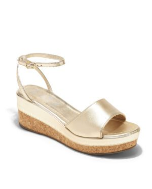 Sandales Compensées Femme - Sandale Talon Compensee Or Jina - Z3622-19460-06