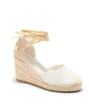 Sandales Compensées Femme - Sandale Talon Compensee Blanc Jina - Js3303-1