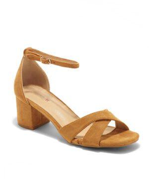 Sandales À Talons Femme - Sandale Talon Decrochee Camel Jina - 8832