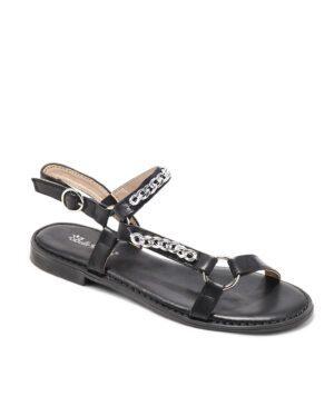 Sandales Plates Femme - Sandale Plate Noir Jina - 5358